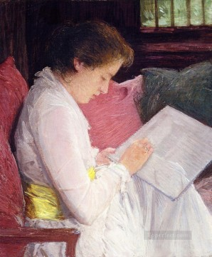Julian Alden Weir Painting - The Lace Maker Julian Alden Weir